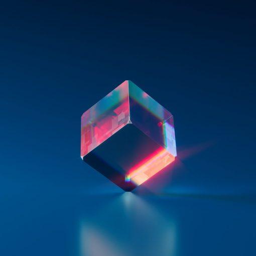 purple and pink diamond on blue background